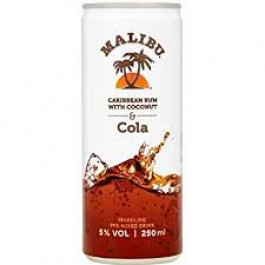 Malibu & Cola can Alcopops Can 250ml - Case of 12