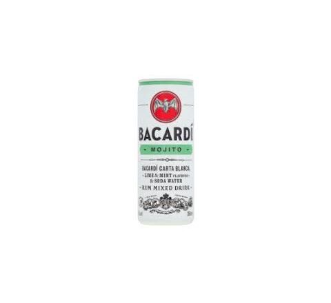 Bacardí Mojito Alcopops Can 250ml - Case of 12