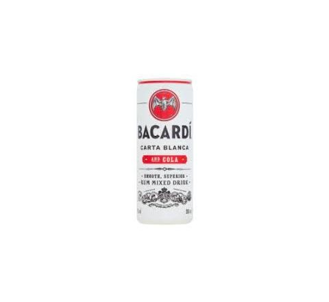 Bacardi Rum Spiced and Cola Alcopops Can 250ml - Case of 12