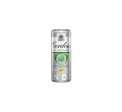 Gordons Gin & Slimline Tonic Alcopops Can 250ml - Case of 12